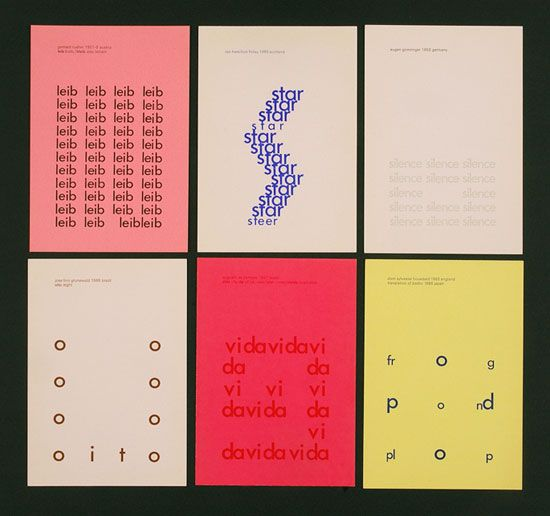 Six concrete poems, designed by Edward Wright, published on the occasion of the Concrete Poetry Festival, Brighton 1967.