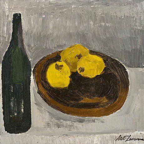 Ahti Lavonen: Asetelma sitruunoilla, öljy kankaalle, 50,5x50,5 cm - Bukowskis