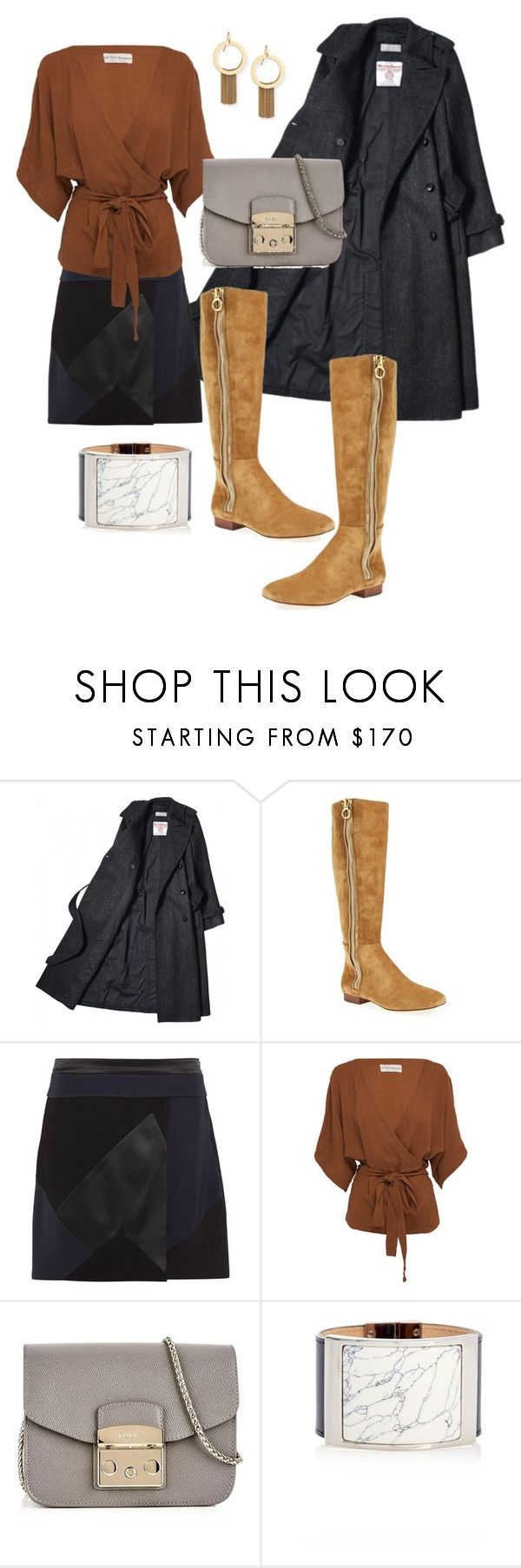 """Flat knee boots"" by jalepe ❤ liked on Polyvore featuring VC Signature, Victoria, Victoria Beckham, All That Remains, Furla, Balenciaga and Stephanie Kantis"