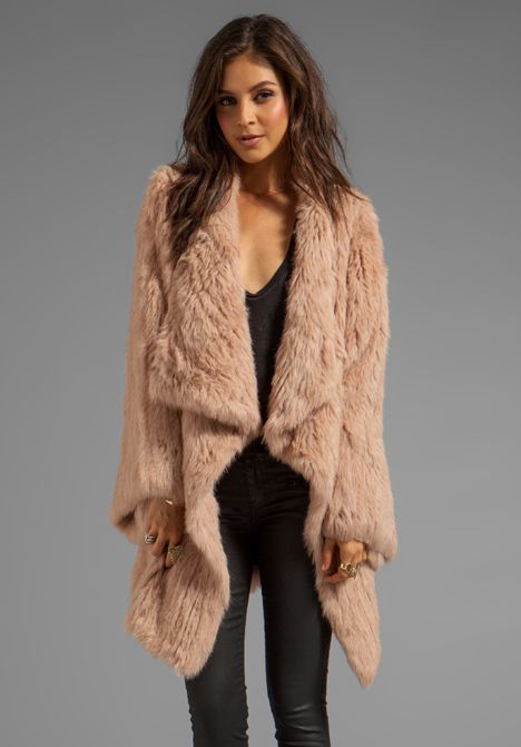 Wish they made this in faux fur: ELIZABETH AND JAMES Kimono Elijah Coat in Boudior Pink