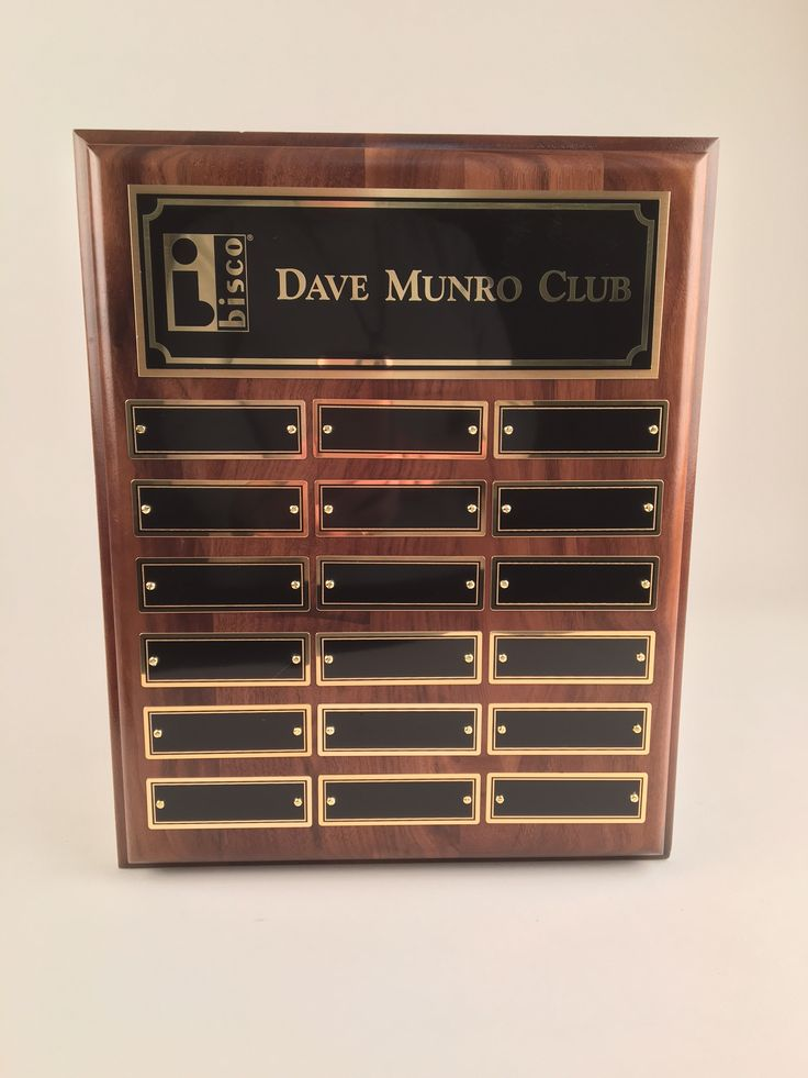 This is an elegant and unique Perpetual Plaque with 18 perpetual plates. #perpetualplates #awards #trophies #engraving