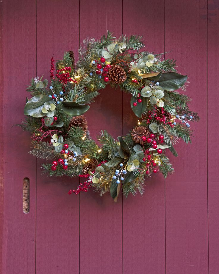Red blue pine cone gold w/greens for mantle (Savannah Pre-Lit Wreath - Gardners Supply)