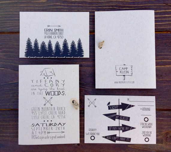 woodsy rustic invitation twine knot camping invitation