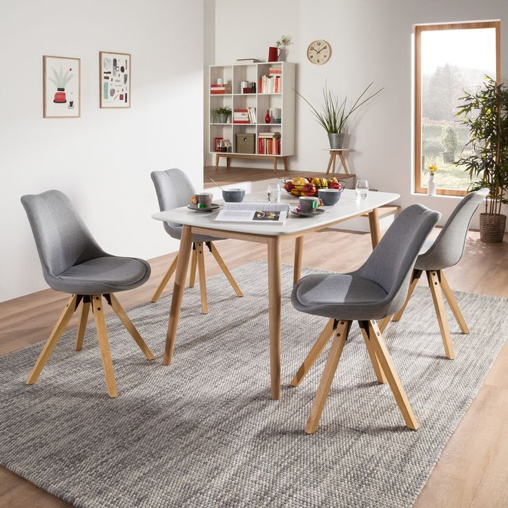Gestoffeerde stoelen Aledas II (2-delige set) - geweven stof/massief rubberboomhout - Lichtgrijs