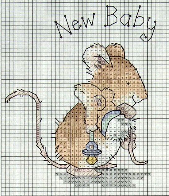 borduurpatroon - baby, muis