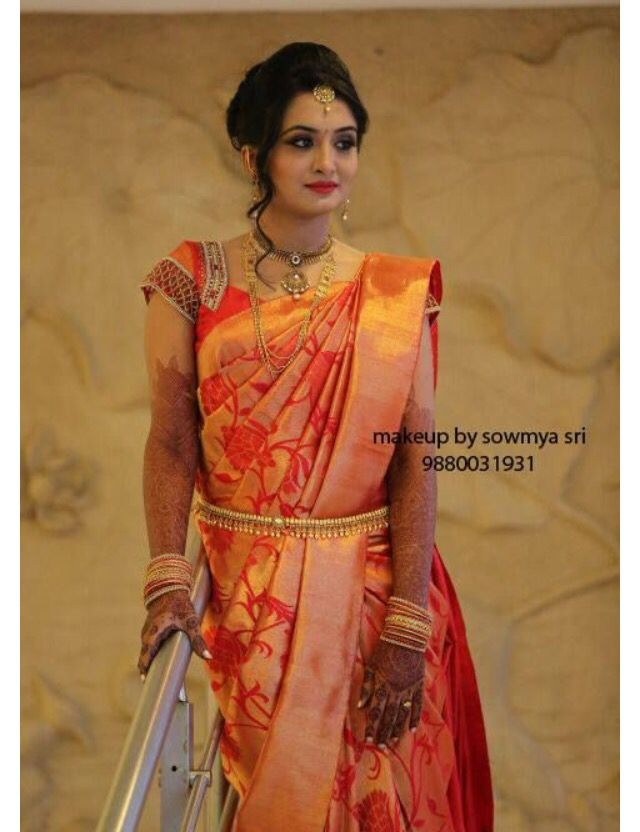 Orange bridal saree