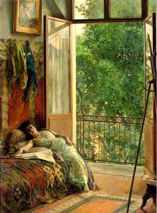 A break in the Studio, by Edouard Richter (1844 - 1913)