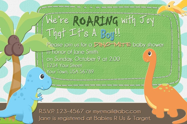 19 best shower invites images on pinterest dinosaur baby showers in keeping with the dinosaur theme from last week i have a baby shower invitation for you this week just add your custom text filmwisefo
