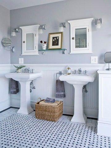 1. Love Grey.  2. Love the double pedestal sink.