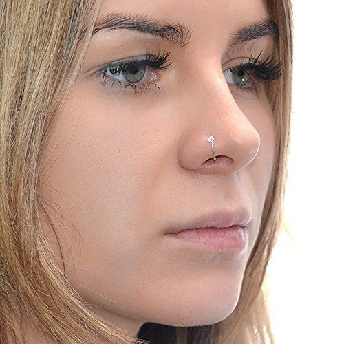2mm Opal Nose Ring Hoop Silver 20g / Nose Hoop, Tragus Ring, Helix Ring