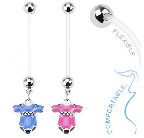 Bio Flex #Pregnancy #Navel Ring with #Baby #blue #Pink Onesie Dangle #bodykraze