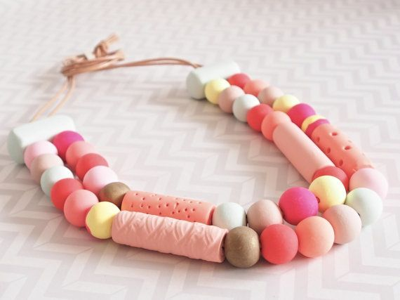 Double strand polymer clay peach and mint lollie by OwnSweetTime