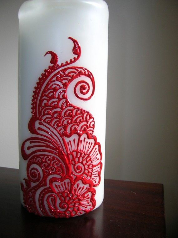 Henna Candle I am in love with!! this would be a great design on a vase www.hierishetfeest.com