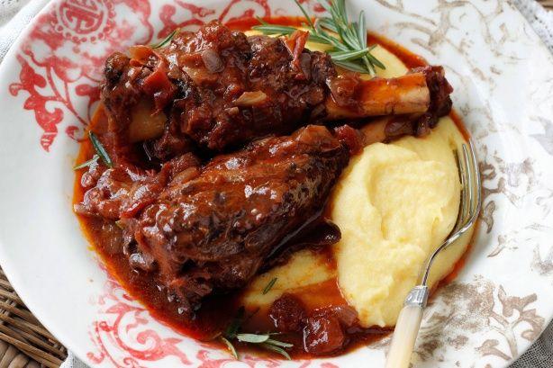 Rosemary lamb shanks braised in red wine