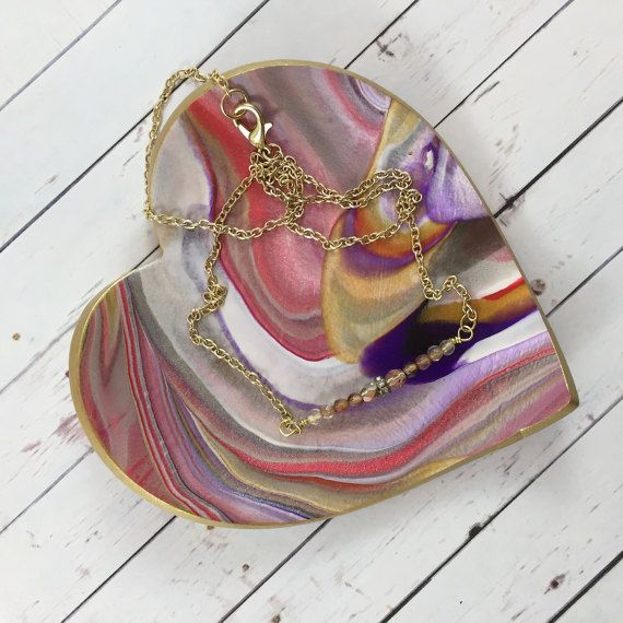 Heart Ring Dish with Red, Purple and Gold Marbled Clay by MonicaRudyJewelry Romantic Valentine's Day gift idea!