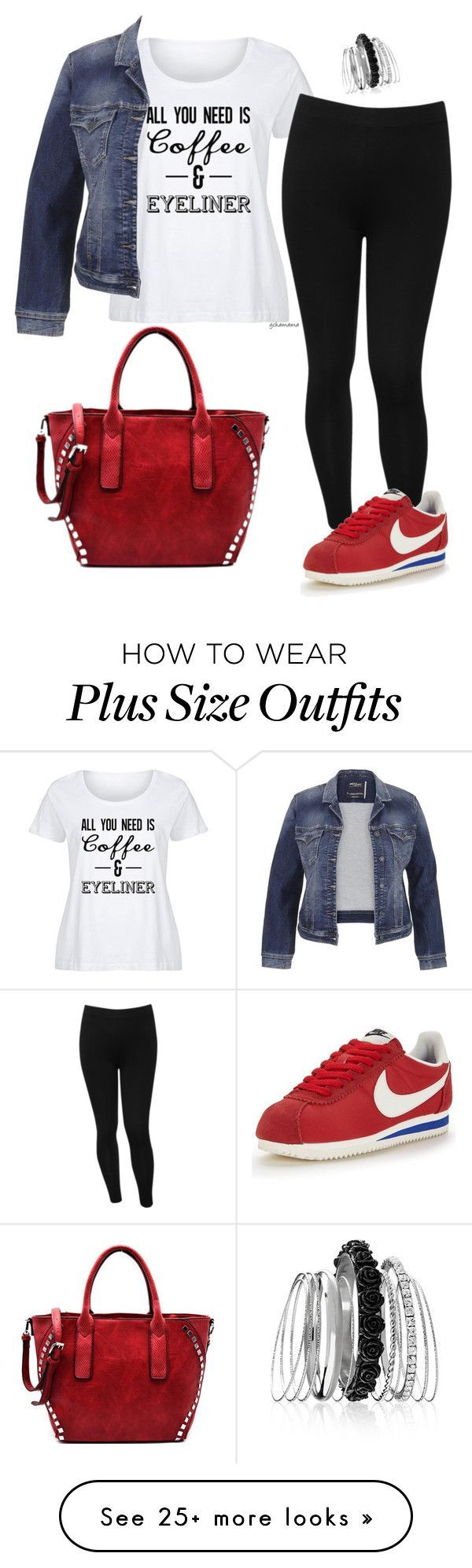 """""""Wake up, makeup- plus size"""" by gchamama on Polyvore featuring LC Trendz, M&Co, maurices, Avenue, NIKE and plus size clothing"""