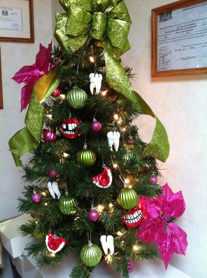Our Dental Christmas Tree I Hand Made The Dental Ornaments Little Bristles Pediatric Dentist I Christmas Decorations Office Christmas Chic Christmas Decor