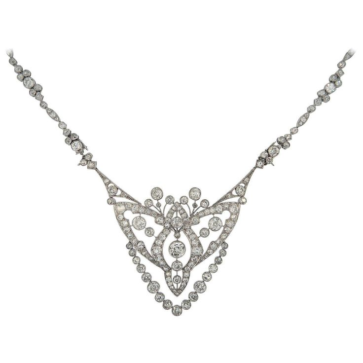 1920s Cartier Important Art Deco Diamond Platinum Convertible Necklace | From a unique collection of vintage drop necklaces at https://www.1stdibs.com/jewelry/necklaces/drop-necklaces/