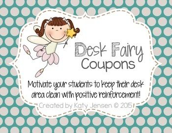 ~FREEBIE~ Positive reinforce clean desks/areas with these super cute Desk Fairy Coupons!