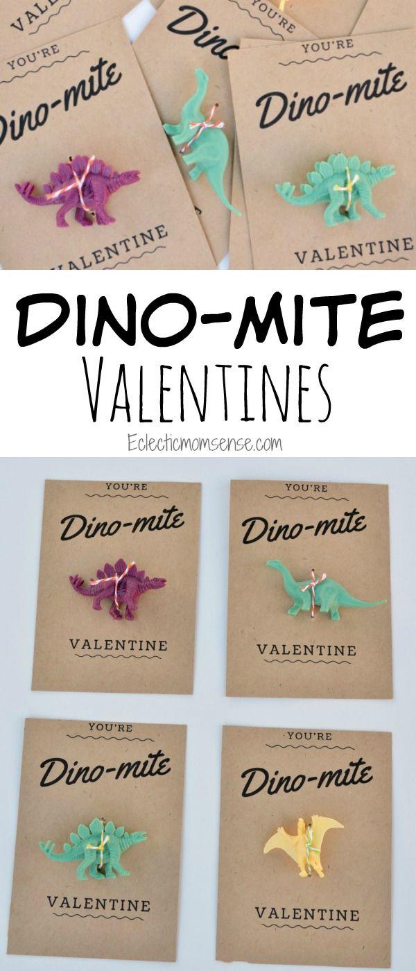 FREE Printable toy dinosaur Valentines.  | Dino-mite Valentines