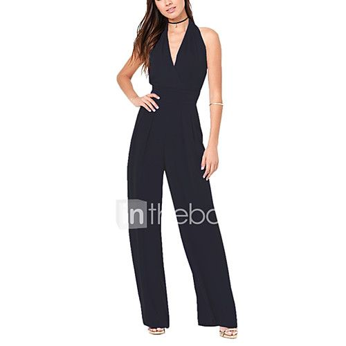Dames Sexy Hoge taille Breed Been Strand Feest Jumpsuits,Blote rug Effen Zomer 2017 - €13.09