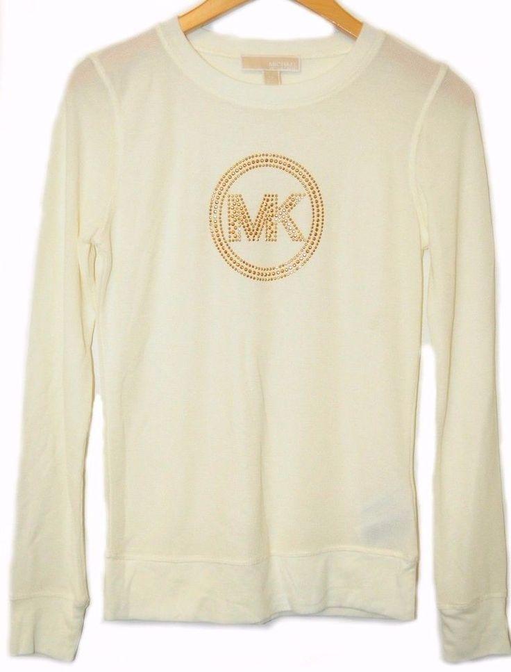 IR MICHAEL KORS Long Sleeve Shirt Off White MK Logo Gold Studded Waffle *XS #MichaelKors #CrewNeck #Casual