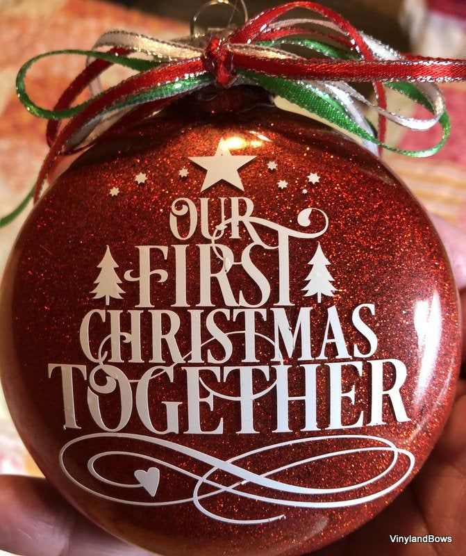 Our First Christmas Together Glittered Glass Ornament With Etsy First Christmas Christmas First Christmas Together Ornament