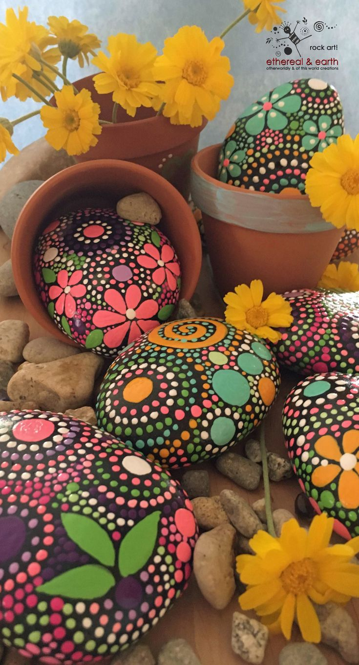 Hand Painted Stones - Flower Motif - Garden Art - Rock Art - Painted Rocks - Nature Art -Natural Home Decor - Mandala Designs - ethereal & earth - otherworldly & of this world creations - FREE SHIPPING!