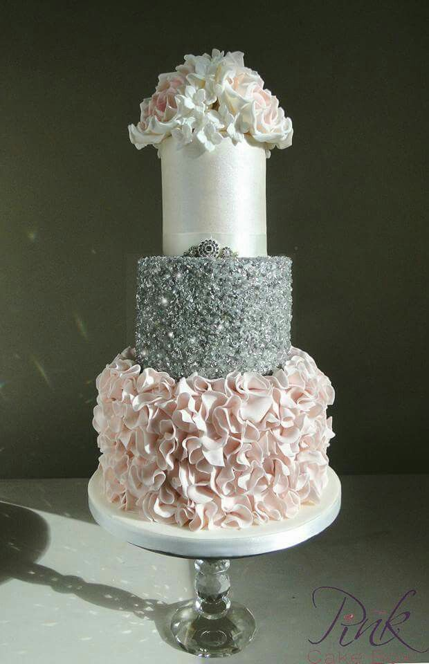 Blush sequin and rose wedding cake