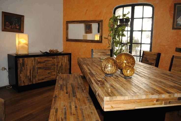 Mesa de 180 cm de largo con banca sillas espejo y buffet - Comedor con banca ...