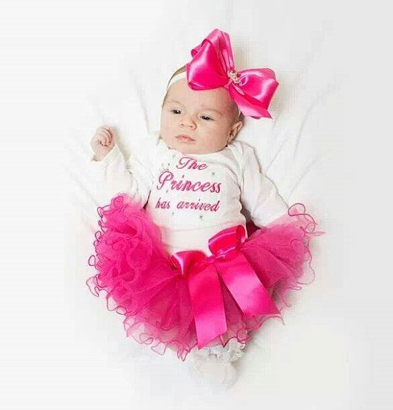 The Princess has arrived embroidered newborn baby girl outfit infant tutu bow headband rhinestone tiara coming home from the hospital outfit on Etsy, $43.00