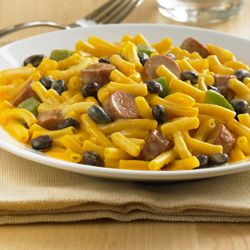 Sausage Mac and Cheese: Creamy macaroni and cheese combined with black beans, bell pepper and Vienna sausages