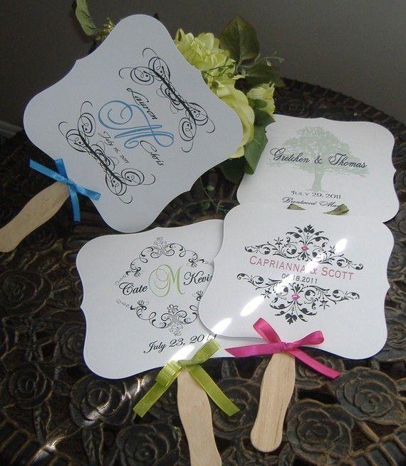 wedding monogram - wedding favor - wedding fan