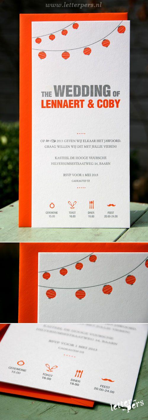 letterpers_letterpress_trouwkaart_Coby_Lennaert_ballon_lampionen_oranje