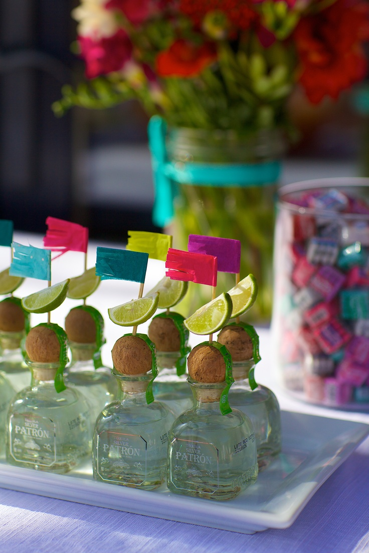 Mini Patron Bottles With Lime Wedges And Fiesta Fringe