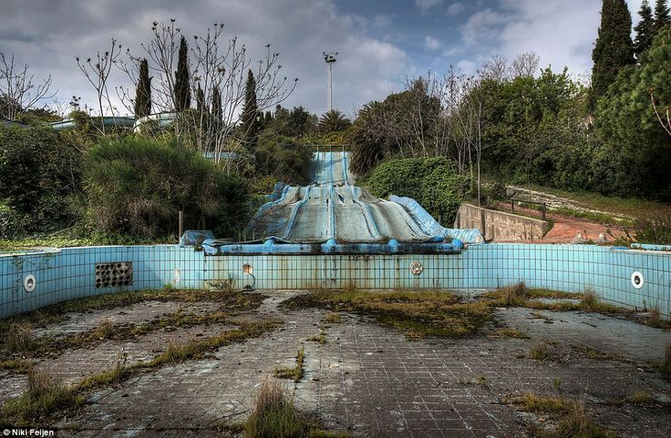 Water world: In his travels, Feijen has come upon this abandoned water park with a slide draining into an empty pool overgrown with vegetati...