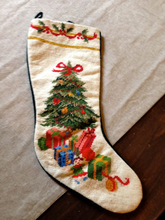 Vintage Needlepoint Christmas Stocking Santa And Holly