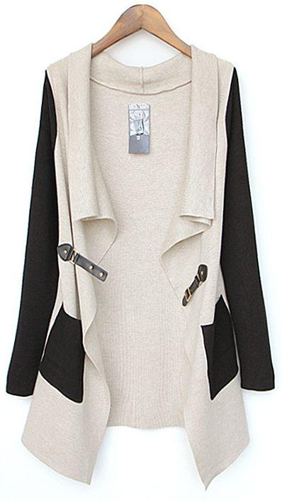 Beige Contrast Black Sleeve Asmmetrical Pocket Cardigan US$42.95
