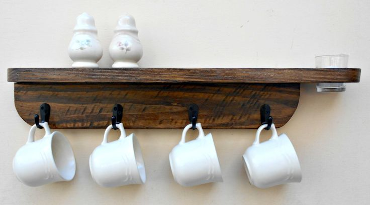 Hanging Mug rack,Shelf and Votive Candle Holder, Wood Wall Mug Holder, Coffee Mug Rack, Kitchen rack, Wall shelf rack, Holds 4 Large Mugs by RobsRusticCreations on Etsy https://www.etsy.com/listing/264453229/hanging-mug-rackshelf-and-votive-candle