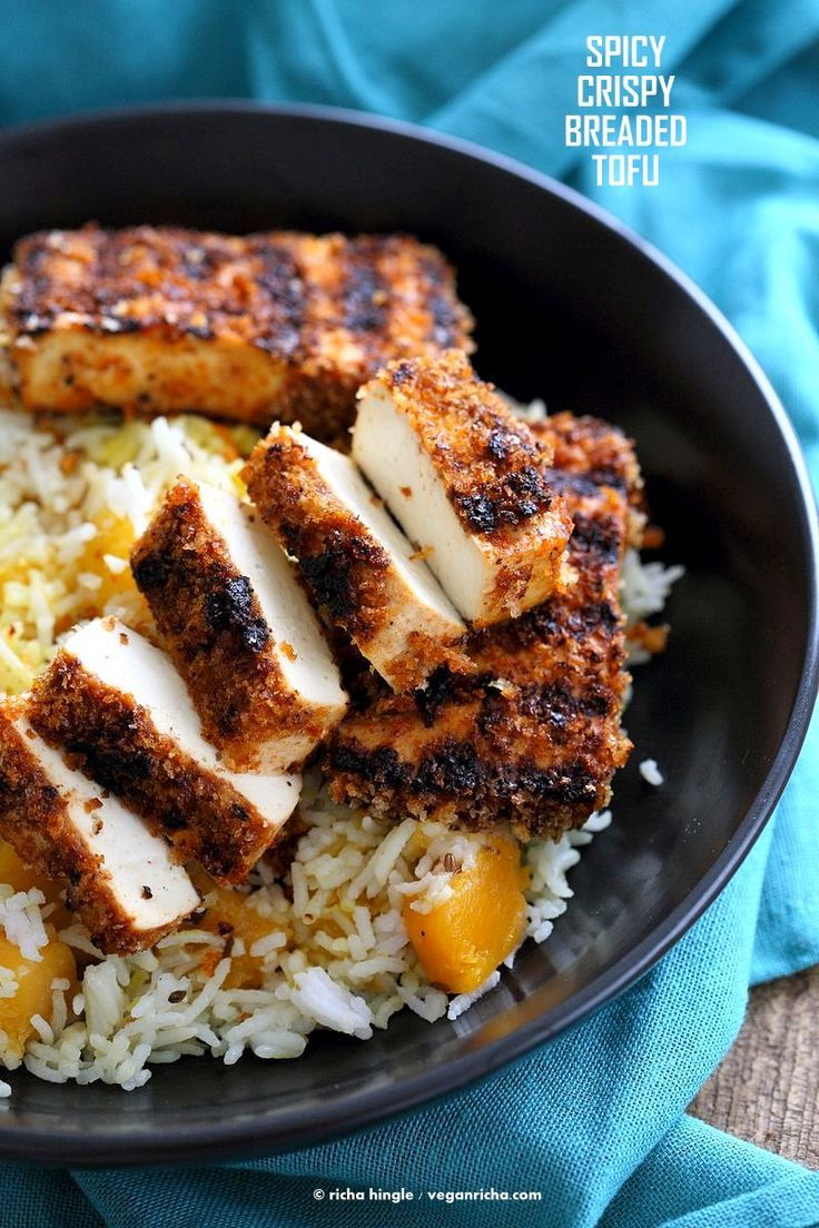Spicy Crispy Breaded Tofu Strips. Marinated Tofu breaded and grilled or baked. Flavorful and easy.   VeganRicha.com #Vegan #Holiday #Side.