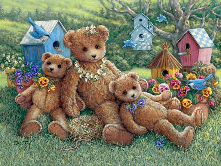 Pansy, Daisy and Viola, a painting of three bears on the lawn with a backdrop of their namesake flowers, many birdhouses and birds by Janet Kruskamp