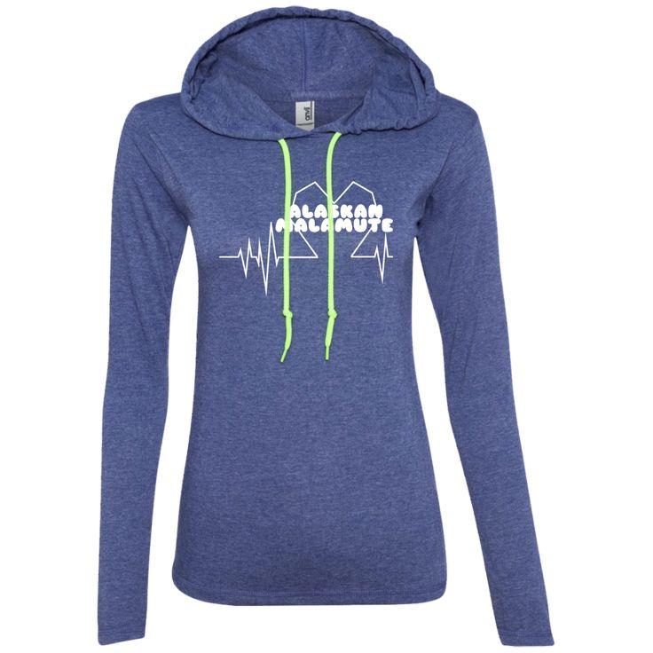 Alaskan Malamute Heartbeat Ladies Tee Shirt Hoodies