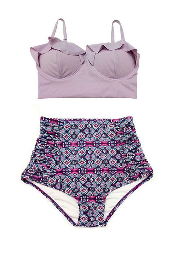 Beach & holiday fashion | beach beauty | Lavender Midkini Top and Graphic High Waisted Waist by venderstore | print bathing suit | ruffled bikini top @monstylepin