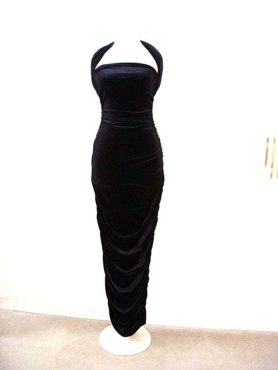 Vintage des années 90 en velours noir bombe robe Hugo Buscati - Avant Garde noir velours dos nu robe de soirée - noir Pin Up Maxi - petites et moyennes