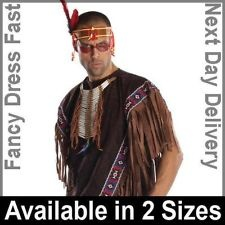 Adult Native American Indian Fancy Dress Costume Cowboy Wild Western Poncho Mens    £15.95    This could be perfect