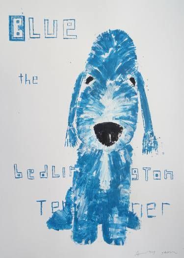 "Saatchi Art Artist Andy Shaw; Painting, ""Blue the Bedlington Terrier"" #art"