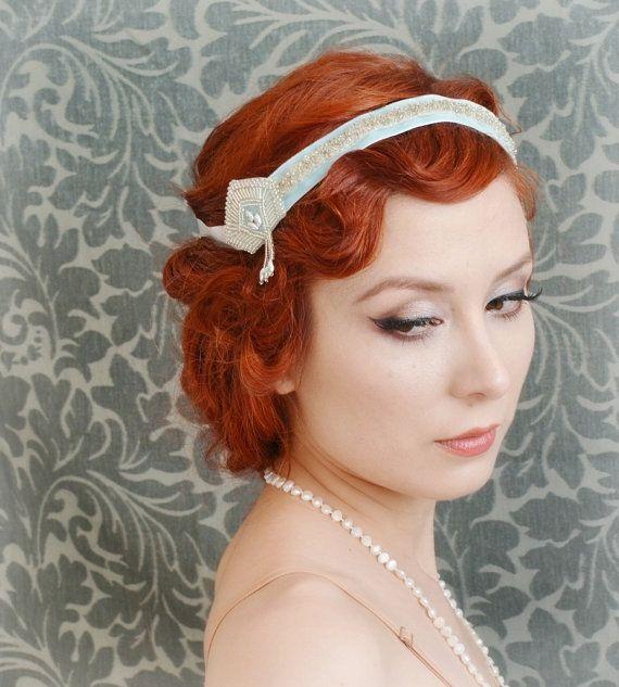 Bridal headband, flapper head peice, velvet crown, wedding accessories - nostalgia