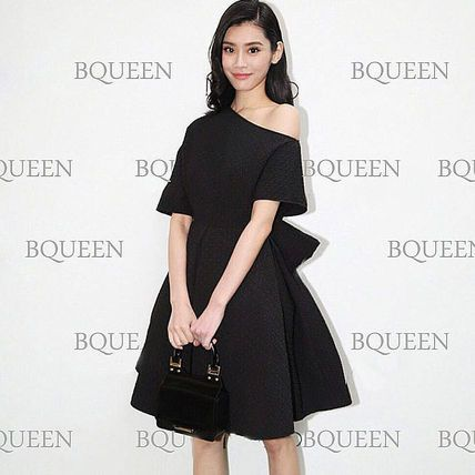 ドレス-ミニ・ミディアム パーティドレス 斜め襟 肩見せ バックリボン ブラック 2707