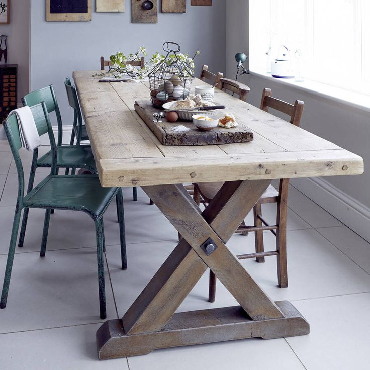 Country Dining Table With Bench: Reclaimed Timber Country Trestle Dining Table In 2019