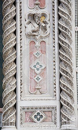 Detail of the decoration of Santa Maria del Fiore cathedral in Florence, Italy